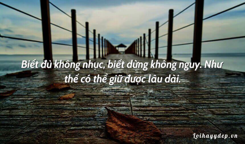 Biết đủ không nhục, biết dừng không nguy. Như thế có thể giữ được lâu dài.