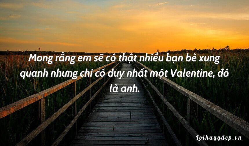 Mong rằng em sẽ có thật nhiều bạn bè xung quanh nhưng chỉ có duy nhất một Valentine, đó là anh.