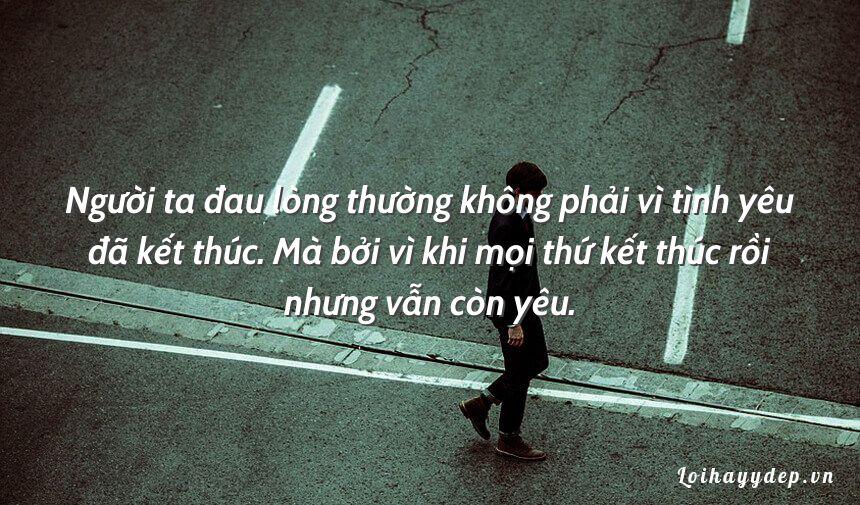 Người ta đau lòng thường không phải vì tình yêu đã kết thúc. Mà bởi vì khi mọi thứ kết thúc rồi nhưng vẫn còn yêu.