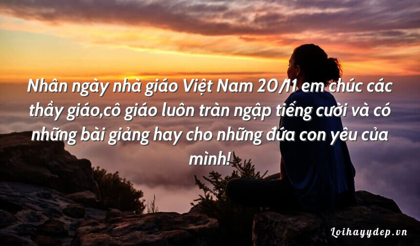 Nhân ngày nhà giáo Việt Nam 20/11 em chúc các thầy giáo,cô giáo luôn tràn ngập tiếng cười và có những bài giảng hay cho những đứa con yêu của mình!